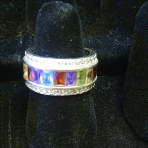 Beautiful Silver ring multi-colored stones